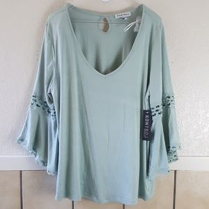 Kontrol Contempory Plus size bell sleeved BOHO top